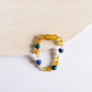 Raw Honey Amber || Malachite + Lapis || Anklet or Bracelet