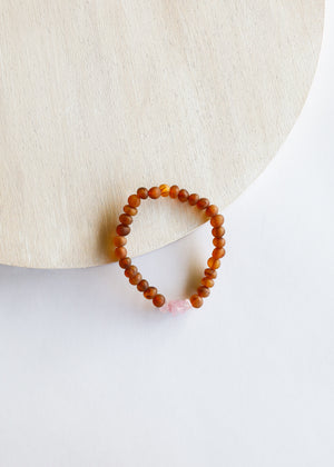 Raw Cognac Amber + Raw Rose Quartz || Adult Bracelet