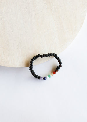 Raw Black Amber + CHAKRA Crystals || Adult Bracelet