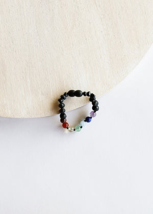 Raw Black Amber + CHAKRA Crystals || Kids Bracelet