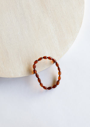 Polished Cognac Amber Bracelet or Anklet || Adult
