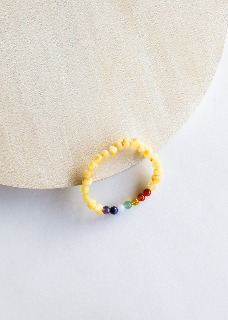 Raw Honey Amber + CHAKRA Crystals || Adult Bracelet