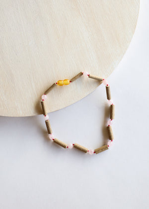 Hazelwood + Rose Quartz Necklace