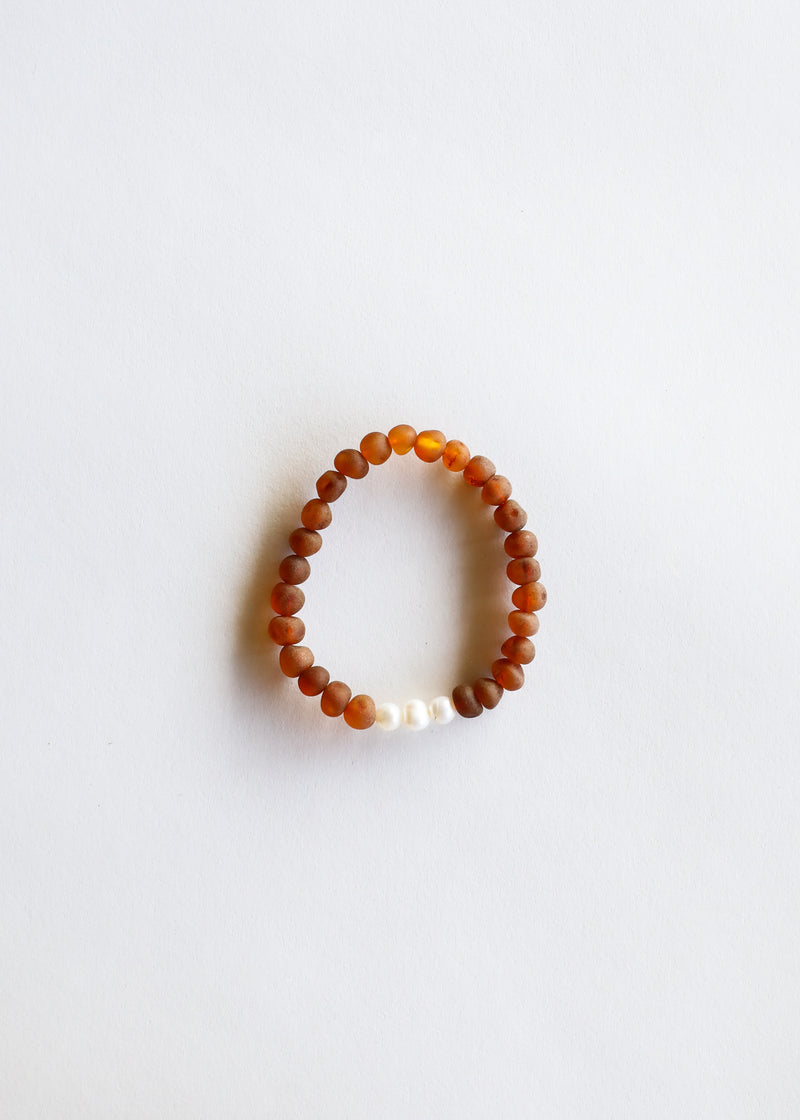 Raw Cognac Amber + Pearls || Adult Bracelet