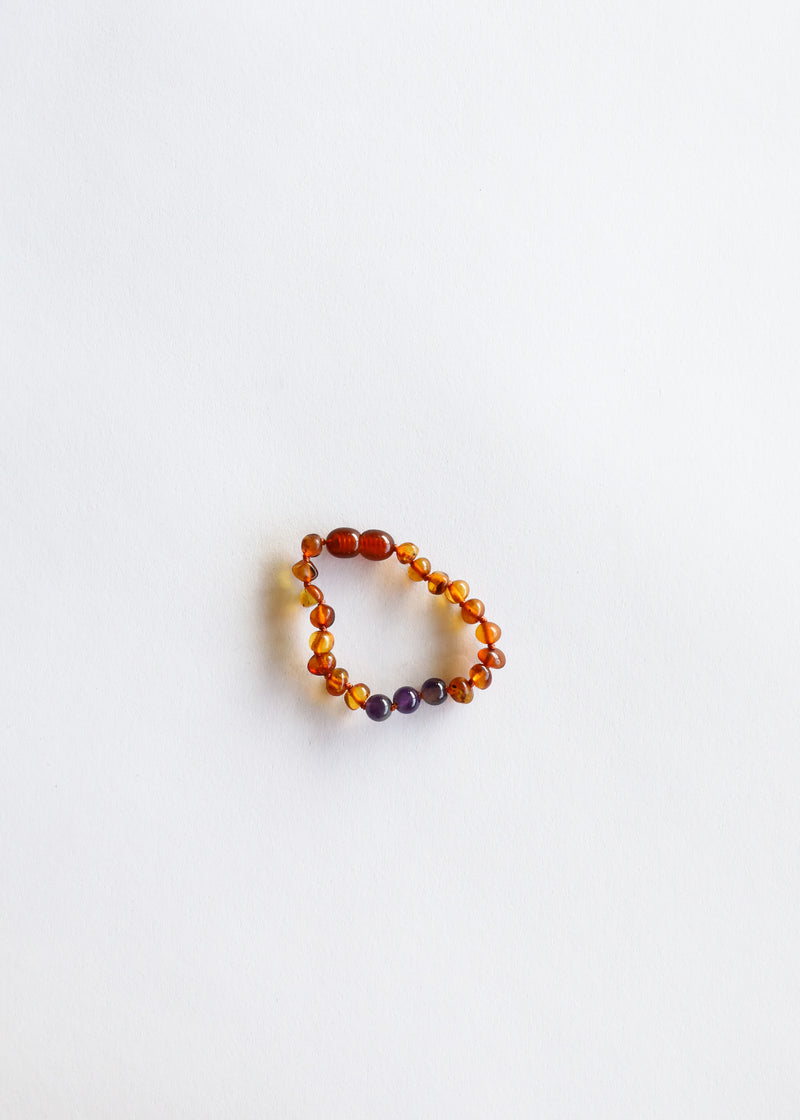 Polished Cognac Amber + Amethyst || Set