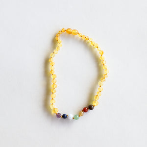 Raw Honey Amber + CHAKRA Crystals || Necklace