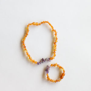 Raw Honey Amber + Raw Amethyst || Set