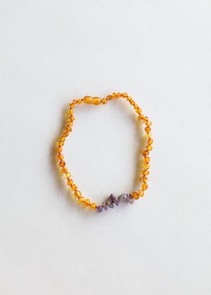 Raw Honey Amber + Raw Amethyst || Necklace