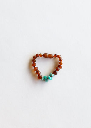 Raw Cognac Amber + Green Amazonite || Anklet or Bracelet