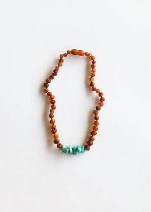 Raw Cognac Amber + Raw Green Amazonite || Necklace