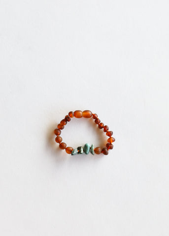 Raw Cognac Amber + Raw Green Amazonite || Adult Bracelet