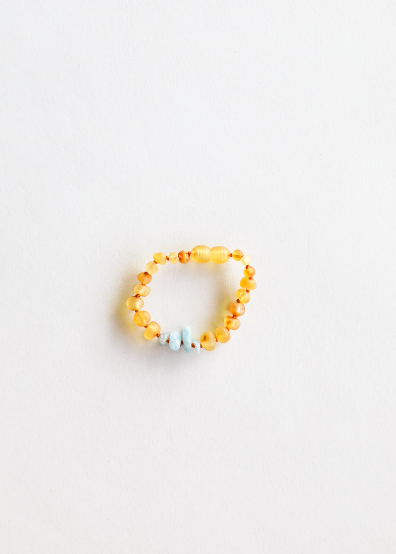 Raw Honey Amber + Blue Amazonite || Kids Anklet • Bracelet