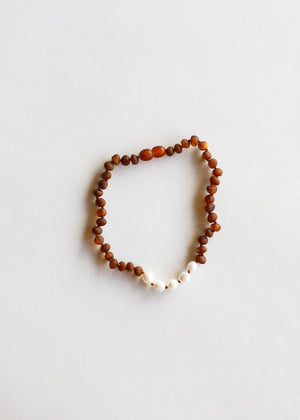 Raw Cognac Amber + Pearl Necklace