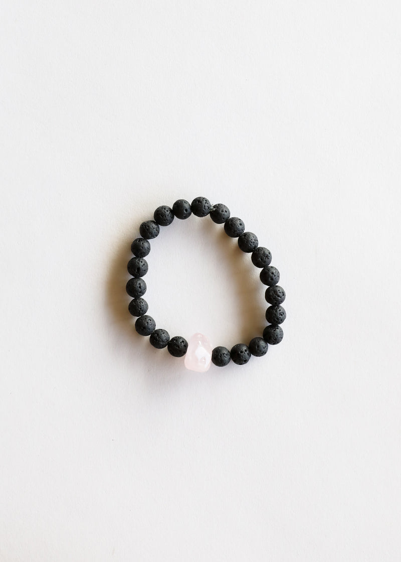 Natural Lava + Rose Quartz Bracelet || Adult