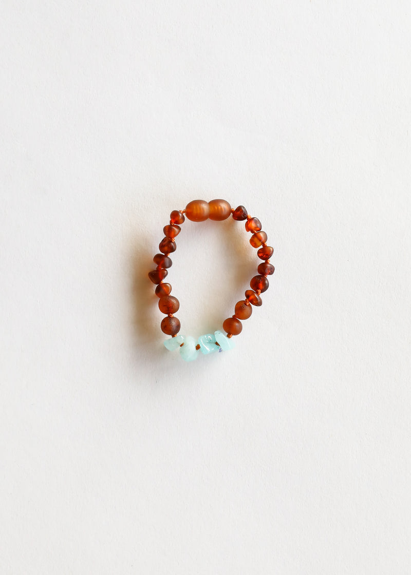 Raw Cognac Amber + Blue Amazonite || Anklet or Bracelet
