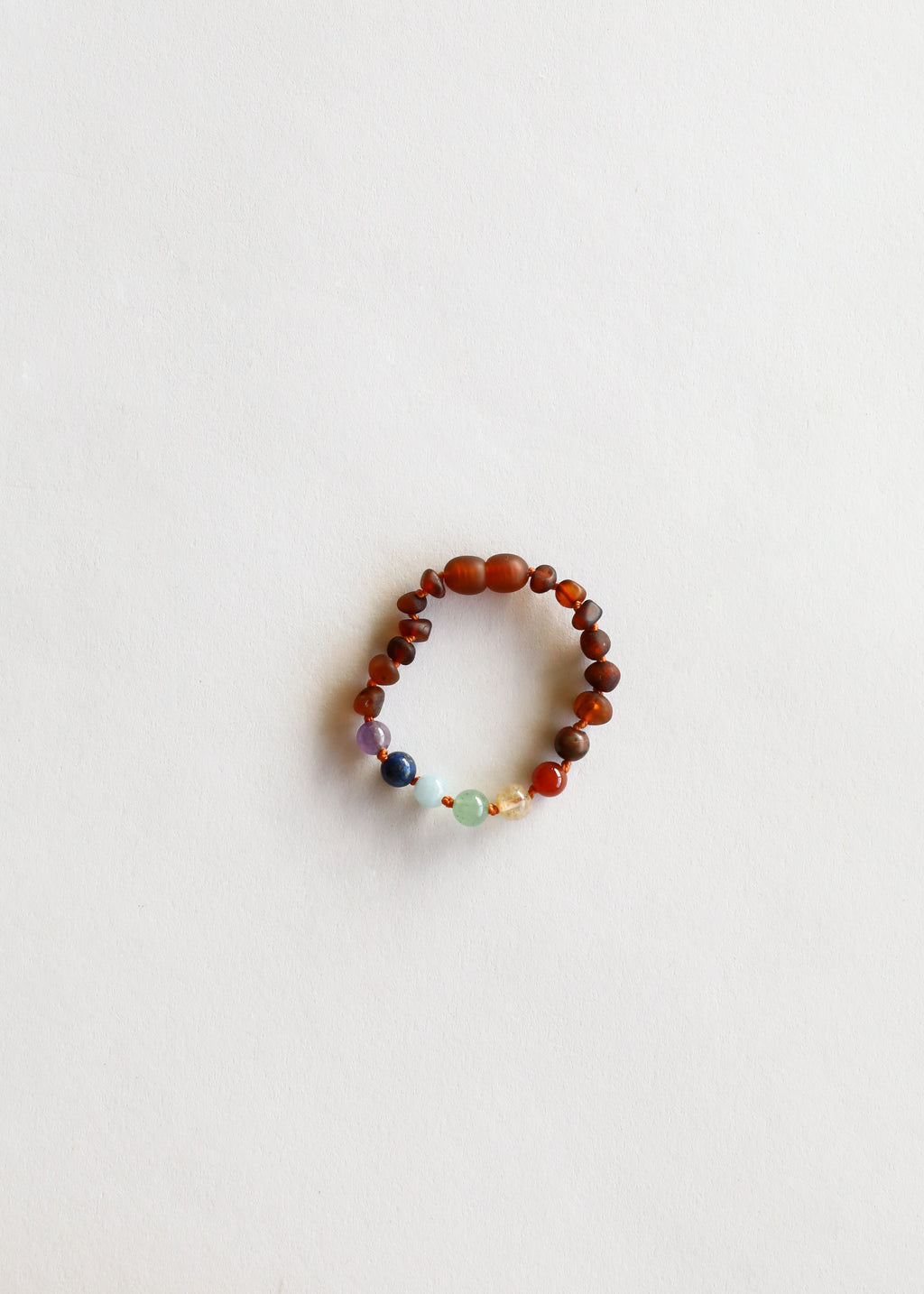 Raw Cognac Amber + CHAKRA Crystals || Anklet or Bracelet