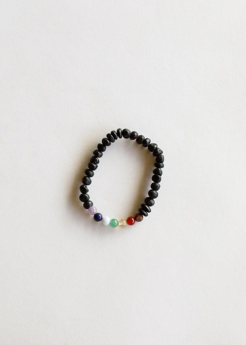 Raw Black Amber + CHAKRA Crystals|| Mommy & Me Bracelets