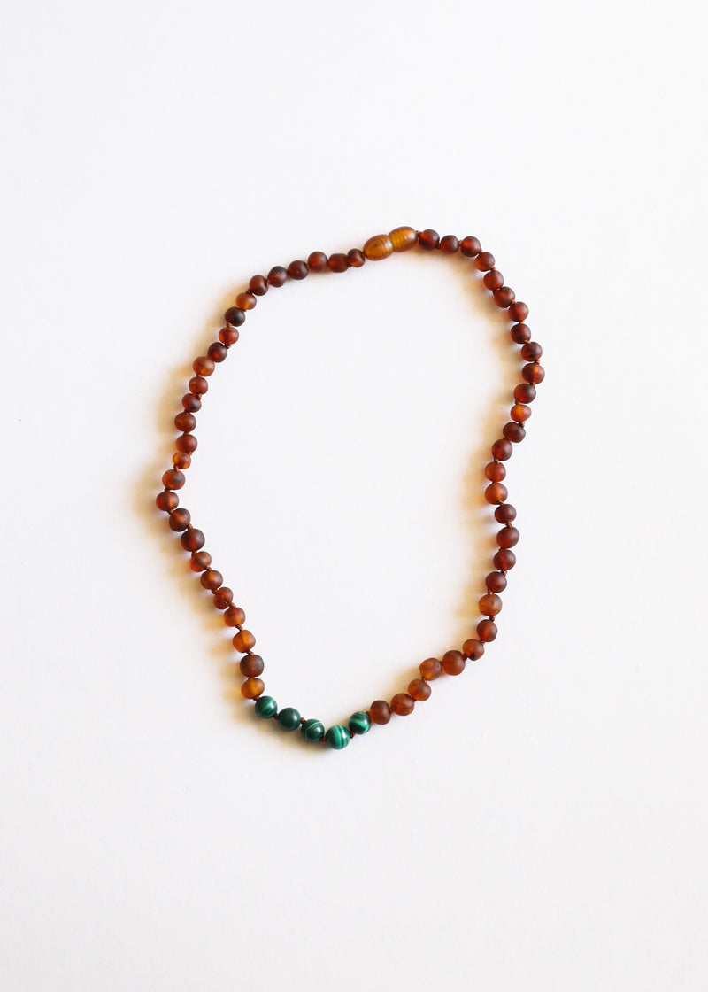 Raw Cognac Amber + Malachite || Necklace