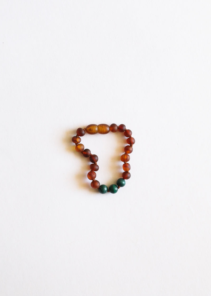 Raw Cognac Amber + Malachite || Anklet or Bracelet
