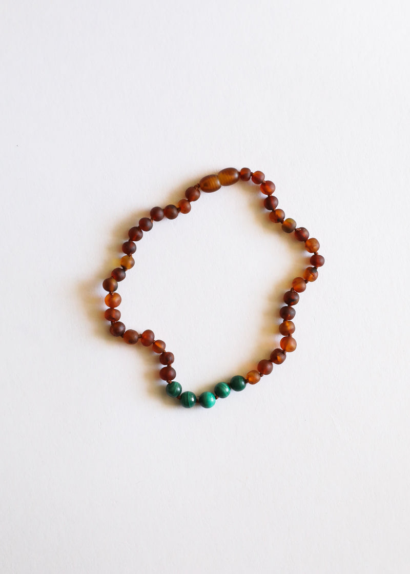 Raw Cognac Amber + Malachite || Gift Set || Necklaces