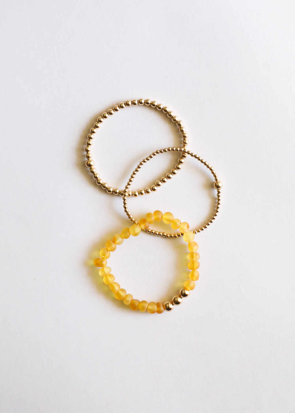 Raw Honey Amber + 14k Gold || Adult Bracelet Stack ||