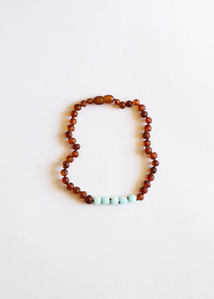Raw Cognac Amber + Amazonite || Mommy & Me || Necklaces