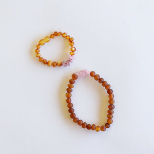 Raw Cognac Amber + Raw Rose Quartz || Mommy & Me || Bracelets