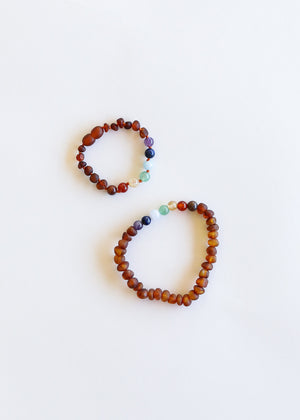Raw Cognac Amber + CHAKRA Crystals|| Mommy & Me Bracelets