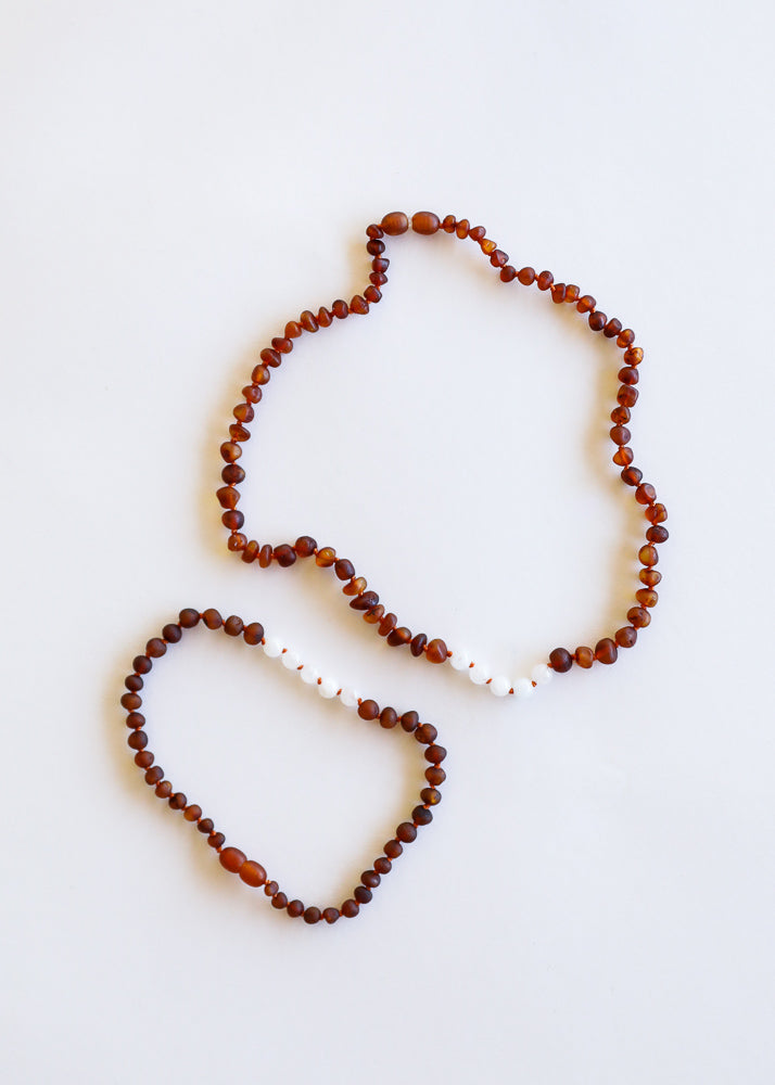 Raw Cognac Amber + Moonstone || Mommy & Me Necklaces