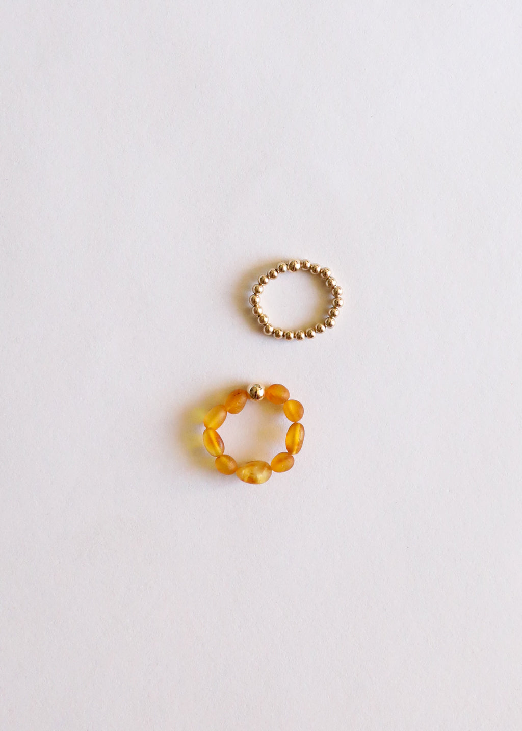 Raw Honey Amber + 14k Gold || Ring Stack