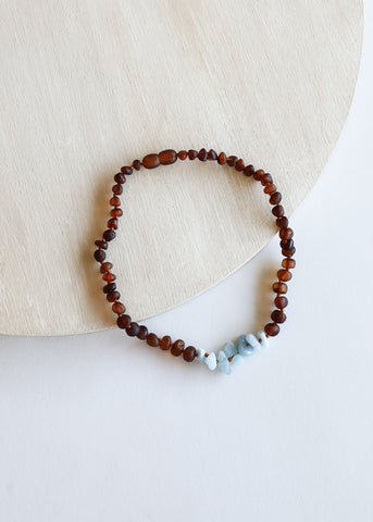 Kids: Polished Cognac Amber + Amethyst || Necklace