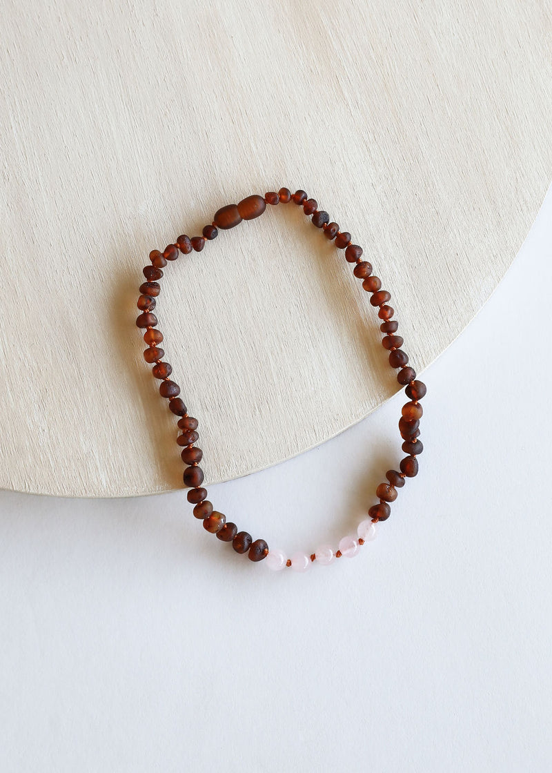 Raw Cognac Amber + Rose Quartz || Necklace