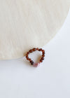 Raw Cognac Amber + Rose Quartz || Kids Bracelet