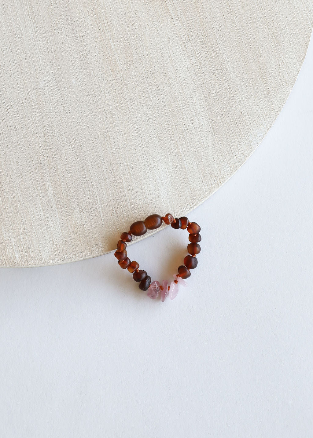 Raw Cognac Amber + Raw Rose Quartz || Anklets or Bracelet