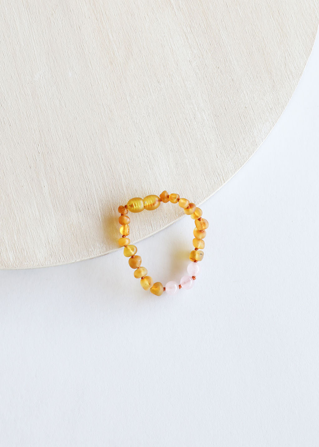 Raw Honey Amber + Rose Quartz || Anklet or Bracelet