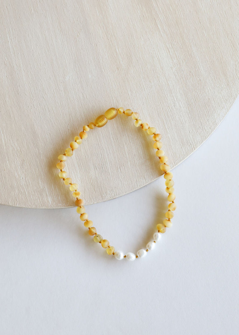 Raw Honey Amber + Pearl || Necklace