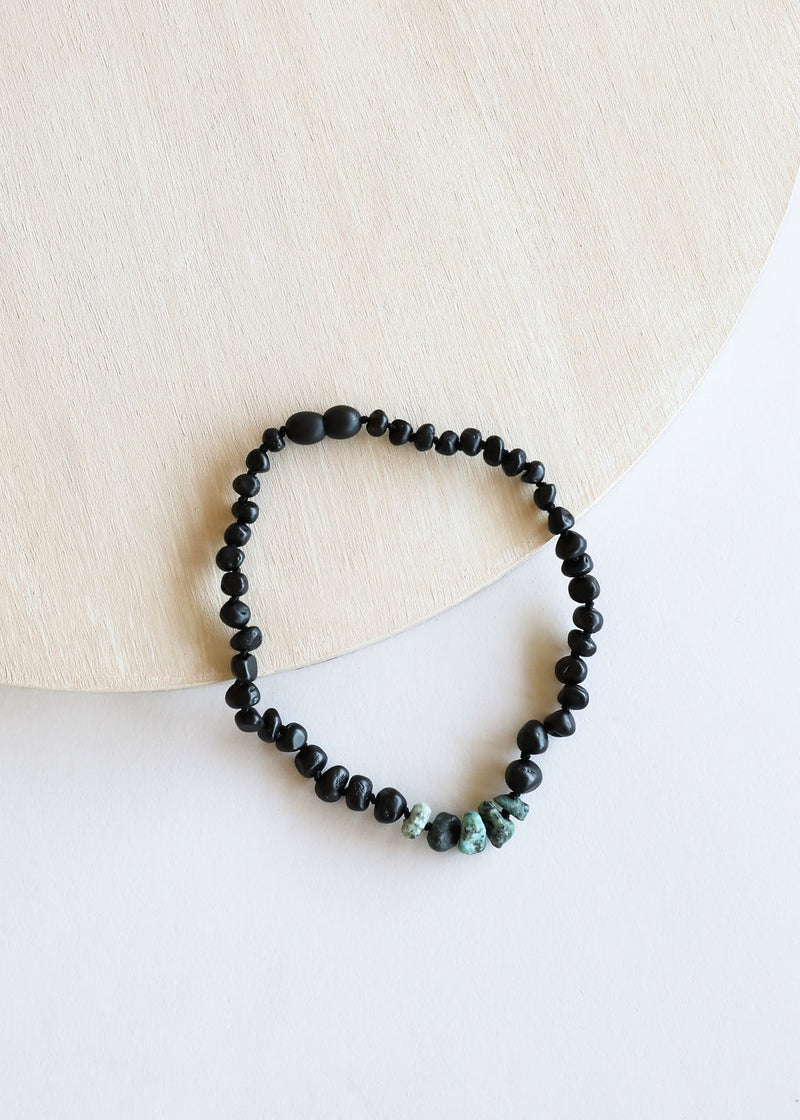 Raw Black Amber + Raw Turquoise Jasper Necklace