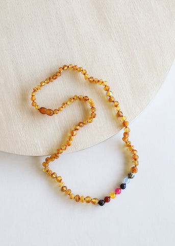 Raw Cognac Amber + Vintage Style Necklace