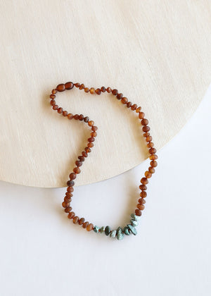 Adult: Raw Cognac Amber + Raw Turquoise Jasper Necklace