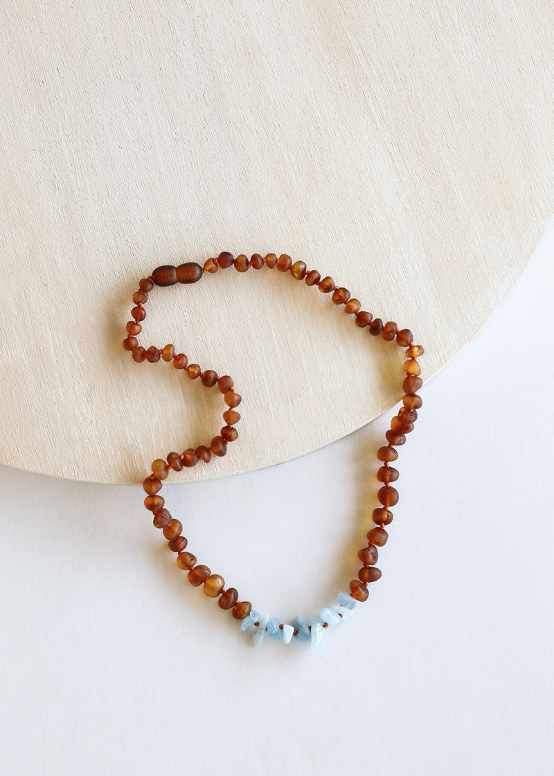 Raw Cognac Amber + Blue Amazonite || Necklace
