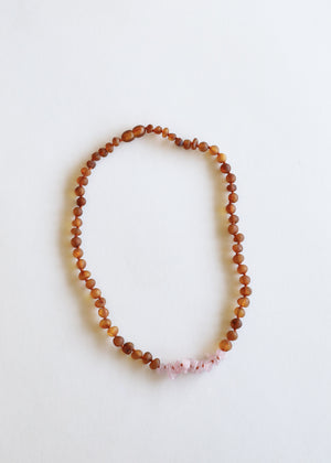 Raw Cognac Amber + Raw Rose Quartz || Mommy & Me Necklaces