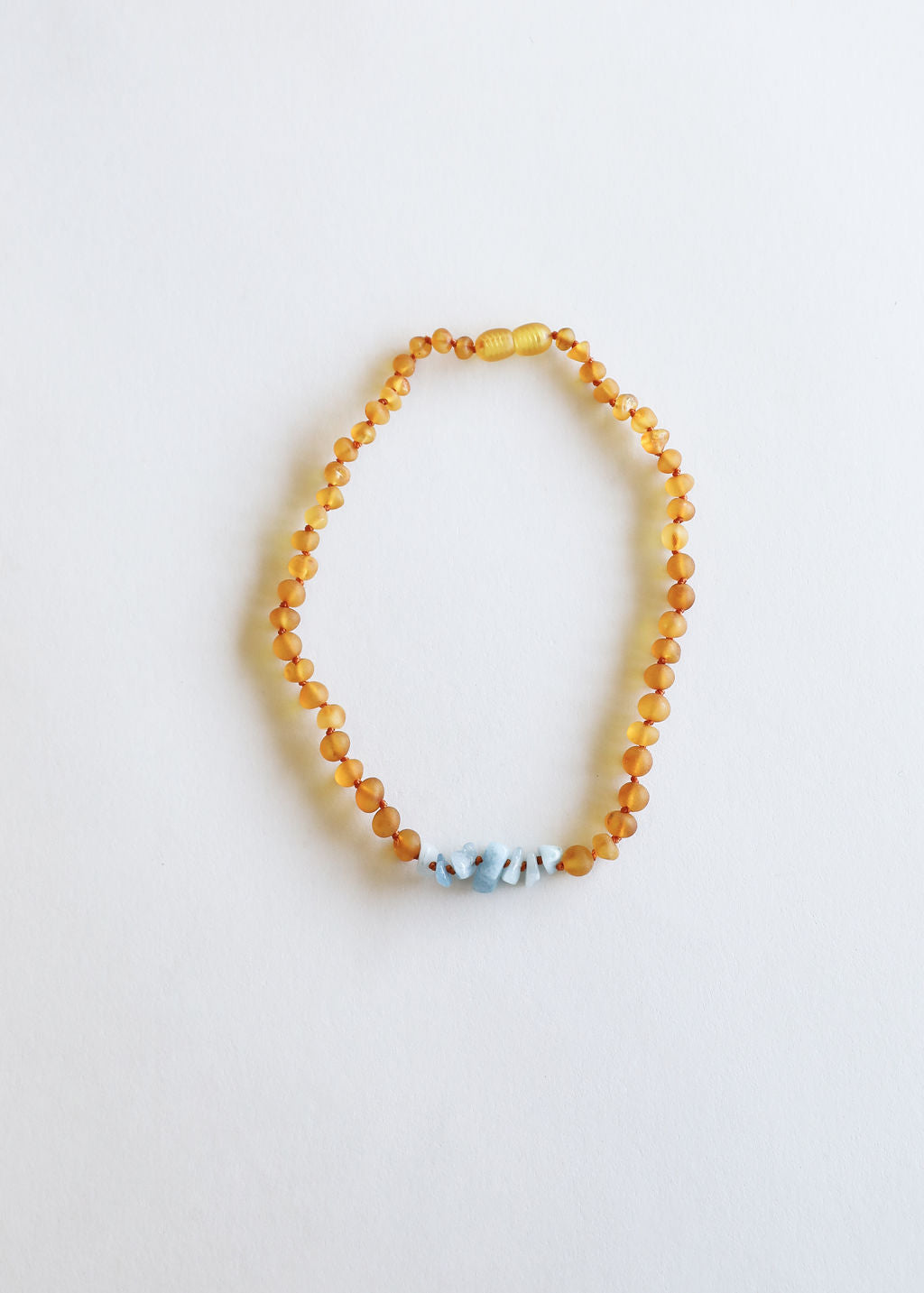 Raw Honey Amber + Raw Blue Amazonite || Necklace