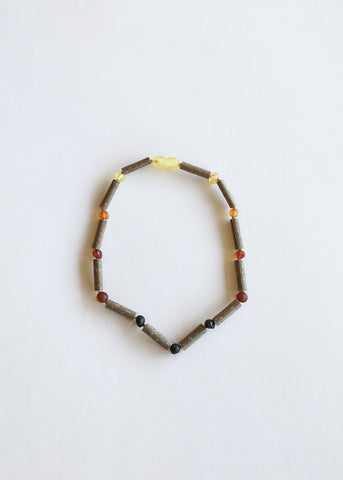 Raw Honey Amber + Amethyst Necklace