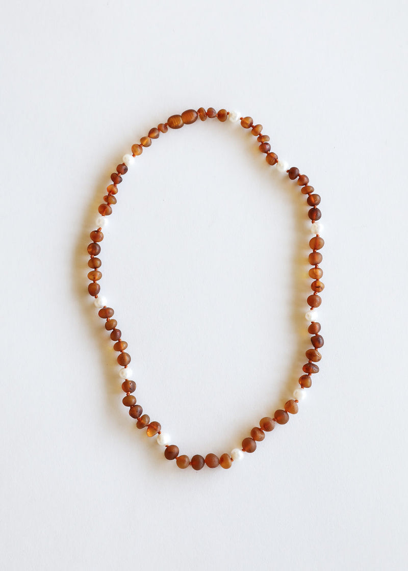 Raw Cognac Amber + Pearl Halo Necklace