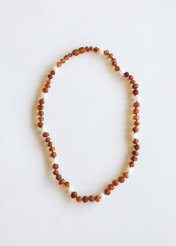 Polished Cognac Amber + Amethyst Necklace