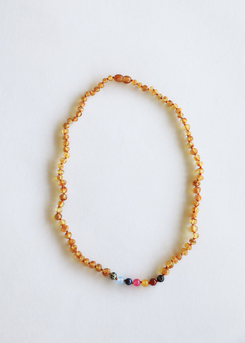 Adult: Raw Baltic Amber + Vintage Style Necklace