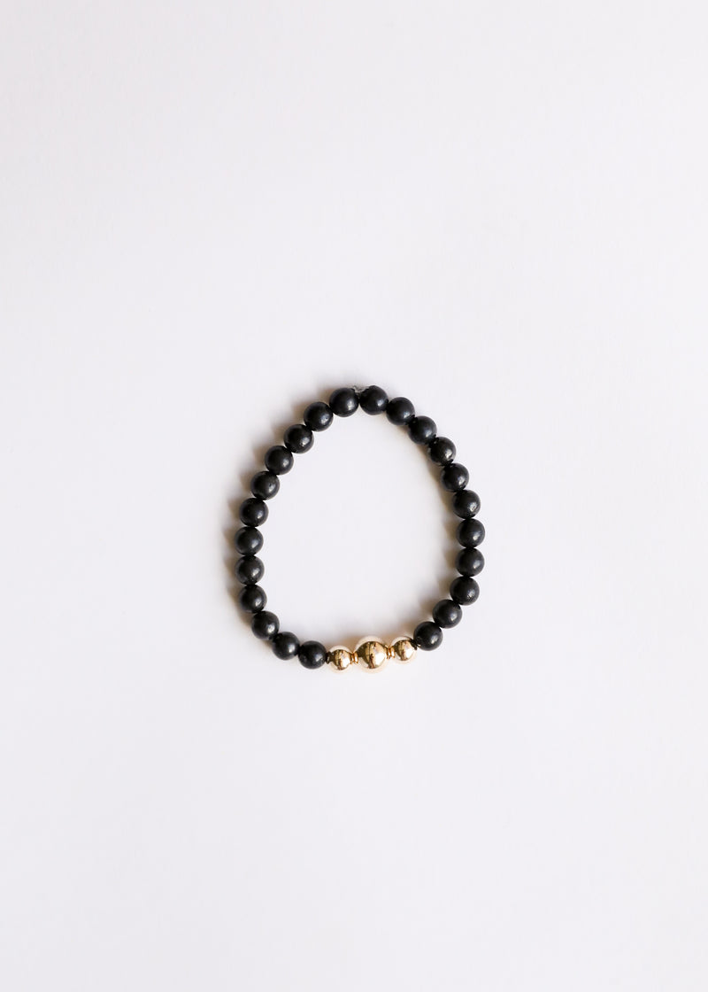 Raw Shungite + Gold || Adult Bracelet
