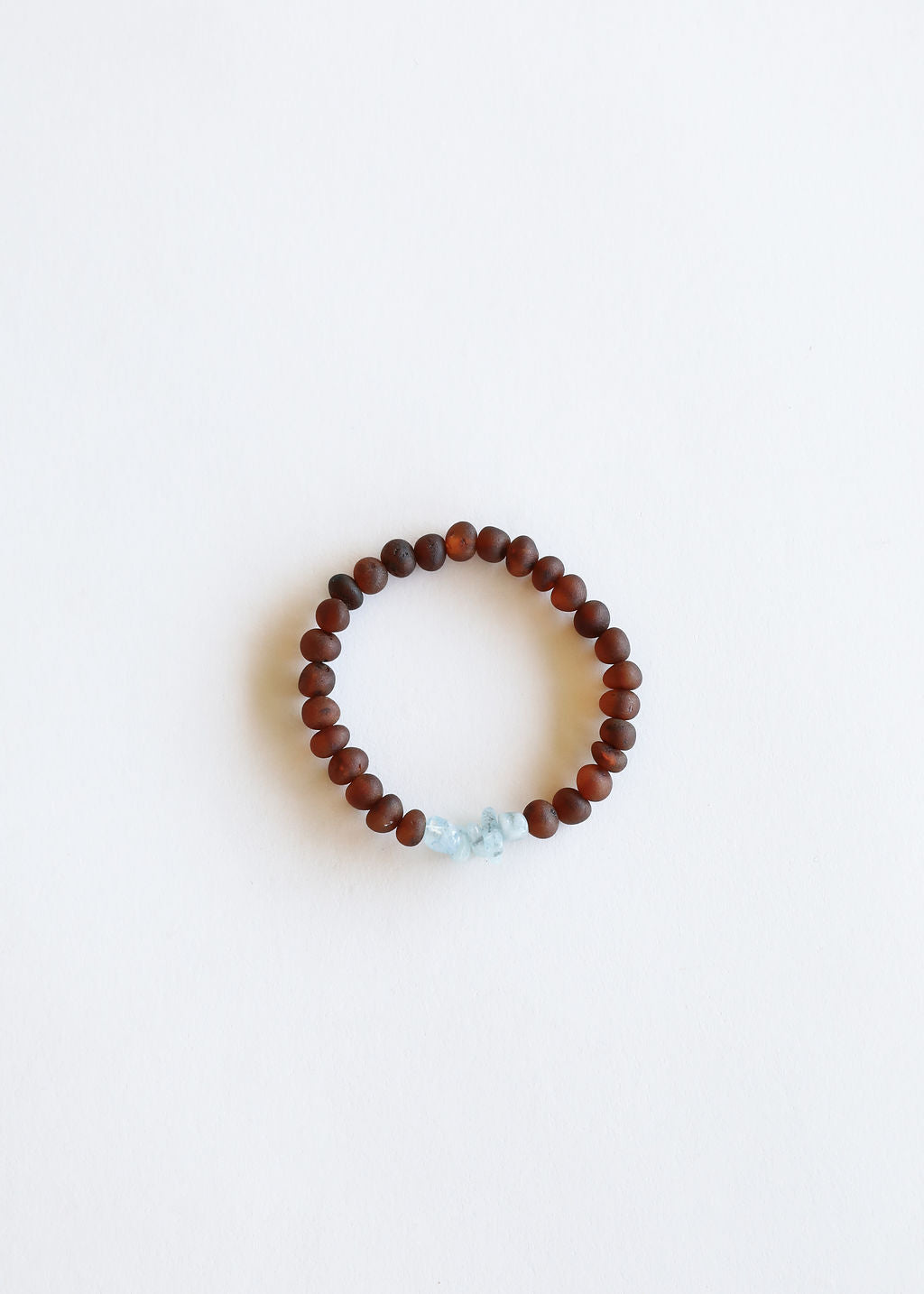 Raw Cognac Amber + Raw Blue Amazonite || Adult Bracelet