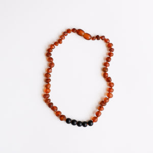 Raw Cognac Amber + Shungite Necklace