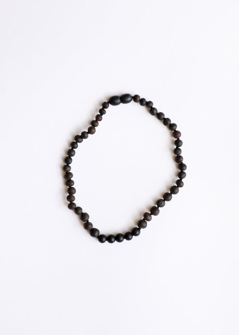 Raw Black Amber + Shungite Necklace